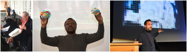 Kasper König wartet auf den Zug, Pascale Marthine Tayou mit bunten Energiekugeln, Eyal Weizmann erklärt, wie man reale Verbrechen gegen die Menschlichkeit aus den Pixeln herauslesen kann