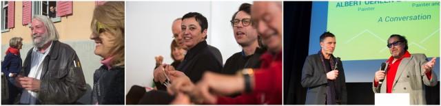 Fotograf Hans Danuser, Moderatoren Beatrix Ruf und Daniel Baumann, Maler Albert Oehlen und Julian Schnabel im Gespräch
