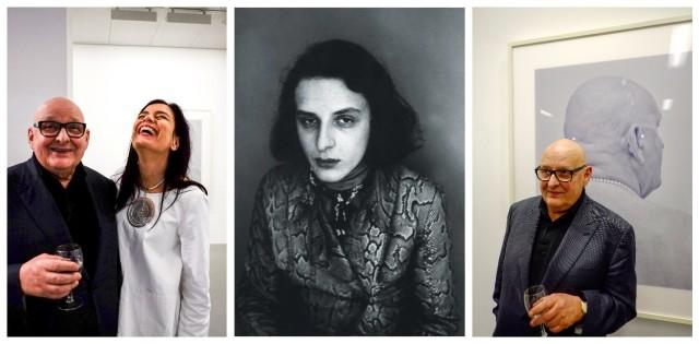 Dreimal Urs Lüthi: Mit der gutgelaunten Galeristin Frédérique Hutter, auf seinem Kult-Autoporträt «Urs Lüthi weint für Sie» und vor einem der neuen Werke («Selfportrait Pearls» von 2011)