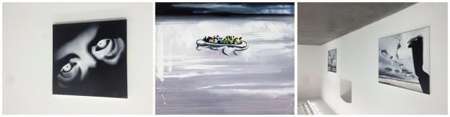 Sasnals Gemälde: «Killing an Arab», 2016, «Palm Bay», 2013, «Killing an Arab 1», 2016 @Wilhelm Sasnal und Hauser & Wirth