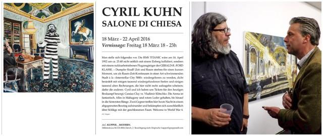 Nur Flyer: Ankündigung von Cyril Kuhns Austellung bei A.C. Kupper, Alain Kupper im Gespräch mit dem Galeristen Nicola von Senger