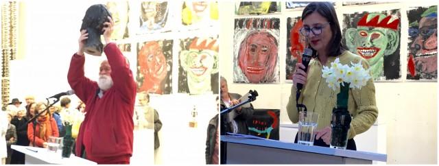 Ralph Bänziger hält die Büste von Helen Dahm hoch, Bice Curiger spricht über «Frauenpower»