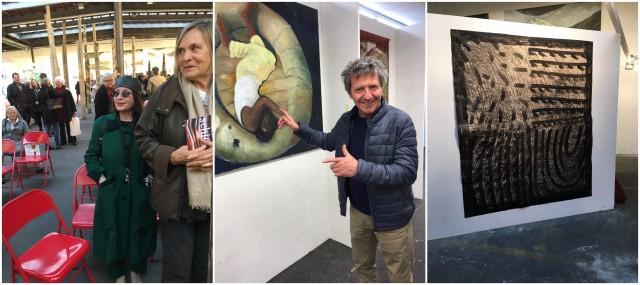 Vernissagenbesucher Manon (ganz links mit brille), Willi Spiller (vor einem Bild von Chantal Wicki) und ein Werk von XY