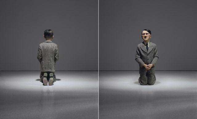 Maurizio Cattelan, «Him» von 2001, verkauft für $17,189,000 (inkl. Käuferkommission). Das nur 1 Meter hohe Werk zeigt einen knienden Hitler, das Gesicht wie im Schmerz verzehrt. Bereut er? Bittet um Verzeihung? Oder bedauert er, nicht gesiegt zu haben? Cattelans Werk stellt wie immer viele Fragen, die mitten ins Gewissen zielen.
