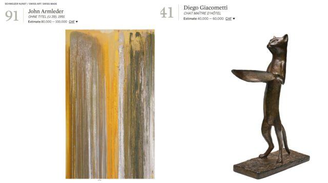 """Schweizer Qualität bei Sotheby's Auktion am 31. Mai in Zürich: John Armleder (OHNE TITEL (U 39), 1991, Lack, Bronzelack und Firnis auf Leinwand 300 x 180 cm) und Diego Giacomettis """"Chat maitre d'hotel»"""