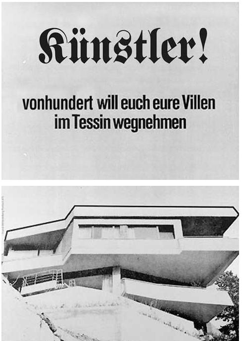 """Eine Persiflage des Kunstblogs """"vonhundert"""" nach einem Plakat von Klaus Staeck, 1972, Orginaltext: """"Deutsche Arbeiter! Die SPD will euch eure Villen im Tessin wegnehmen"""""""