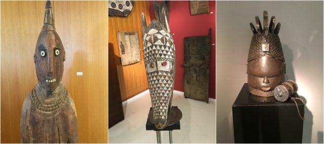 Grinsen mit den Muschelzähnen, machen einen auf Kubismus: die Masken der Stammeskunst