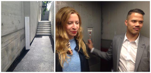 Zum gigantischen Galerienraum geht es hinunter: Die Galerietreppe und der Galerielift, mit Jean-Claude Freymond-Guth und der Designerin Julie Egli