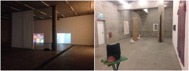 Einblicke in die von Herzog & de Meuron entworfenen Räume. Links «On see» von Weinberger, rechts der Showroom mit Werken von Heide Bucher und anderen