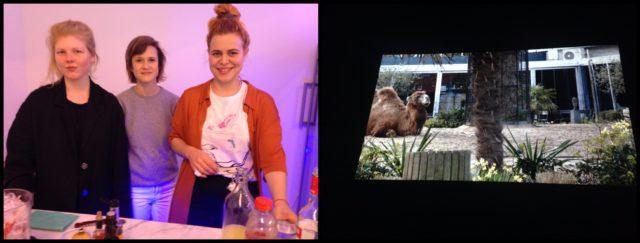 Rechts das Video mit dem Kamel (aus Weinbergers Installation), links die Bloody Mary Fraktion: Künstlerinnen Selina Grüter, Gina Folly und Michèle Graf