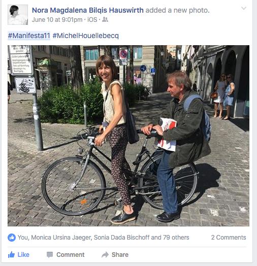 Michel H. lässt sich von der Pressefrau der Manifesta Nora Hauswirth durch die Stadt kutschieren. Dabei bescheinigt ihm sein künstlerischer Check-up eine verhältnissmässig gute Gesundheit. Nächstes Projekt: künstlerischer Besuch eines Fitnessclubs, Herr Houellebecq