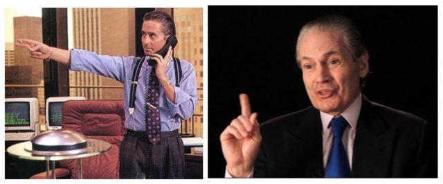 """Der Hedgefund-Manager und Sammler J. Tomilnson Hill IIIJ (rechts), Michael Douglas als Geldakrobat Gordon Gekko im Film """"Wall Street"""""""