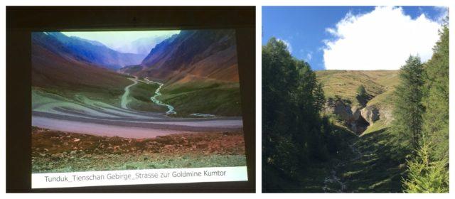 Die «kontaminierte» und die unberührte Landschaft: links das Tienschan-Gebirge, in dem die Cyanid-Lauge alles verseucht und die Engadiner Alpen