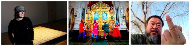Artivisten (v.l.): Die Sängerin des Todes Teresa Margolles, die frechen Punkerinnen Pussy Riot während ihrer legendären Performance in einer Kirche in Moskau, Ai Weiwei, der eine typische Geste macht