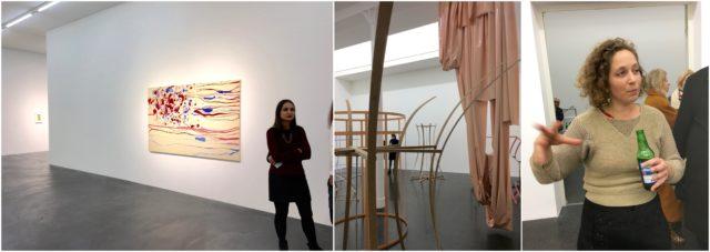Einblick in die Ausstellung von Sue Williams (links), die «Prototypen» und die rosa Vinyl-Kaskade von Sonia Kacem (Mitte), die Künstlerin Kacem erklärt ihr Werk.