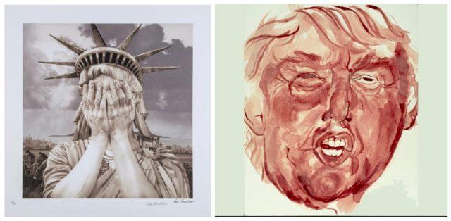 Gee Vauchers weinende Freiheitsstatue wurde zum Symbol der Betroffenheit der Künstler auf den Social Media, Sara Levys Porträt «Bloody Trump» sorgte schon im vorfeld der Wahlen für eine Kontroverse (dreweatts, widewalls)