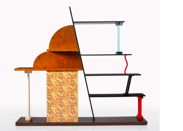 Halb Pilz, halb Büchergestell, kurz ein Rumpeltilzchen von einem Möbel. Bowies Prunkstück namens «Malabar», designt von Ettore Sottsass, Schätzpreis 2000 - 3000 GBP.