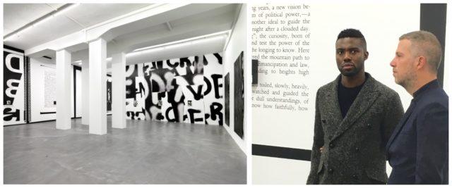 Installationsansicht in den Löwenbräu-Räumen der Galerie Presenhuber, Adam Pndleton und Galeriedirektor Markus Rischgasser in der Ausstellung