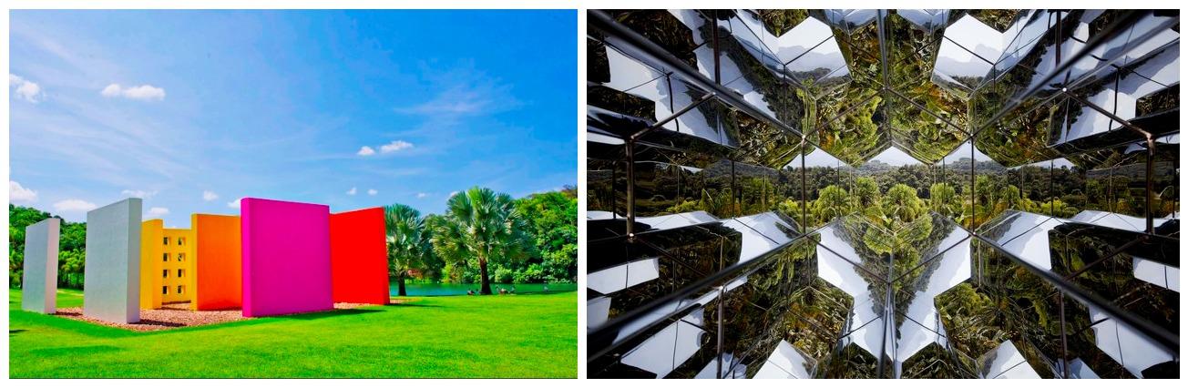 Inhotim: Links die Skulptur des vielverehrten brasilianischen Künstlers Hélio Oiticica von 1977, rechts ein Spiegel-Pavillon von Olafur Eliasson.