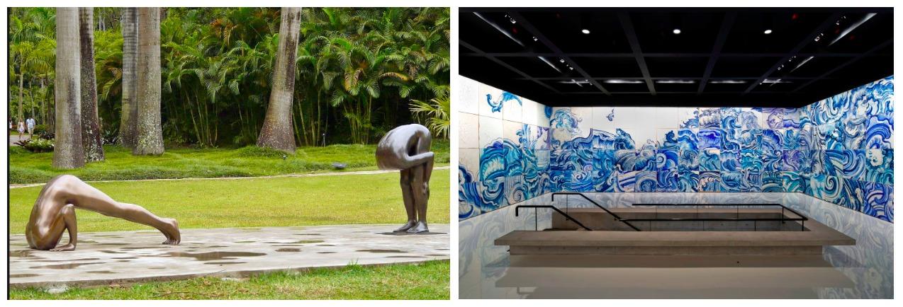 Inhotim: Links eine Skulptur von Edgard de Souza, rechts der Kachel-Pavillon von Adriana Varejao, (tolle jünger Künstlerin aus Brasilien, war die Gattin Nr. 5 des Minenmagnaten).