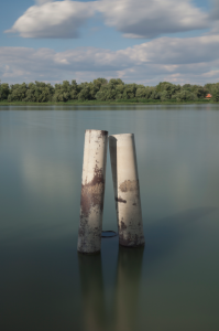 Demian Bichsel: Abandoned Pillar in Belgrade, Danube 2013 C-Print.
