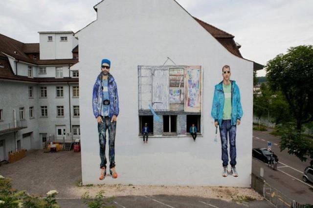 Einmal in echt und einmal auf der Wand: Das Künstlerduo Veli & Amos hat einen Film gedreht.