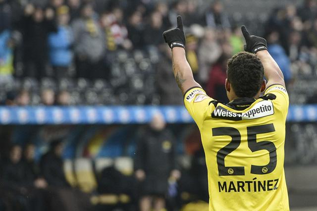 Grosses Potenzial in der Offensive: Der Berner Josef Martinez feiert seinen Treffer zum 1:0 gegen Thun am vergangenen Sonntag. (Foto: Peter Schneider/Keystone)