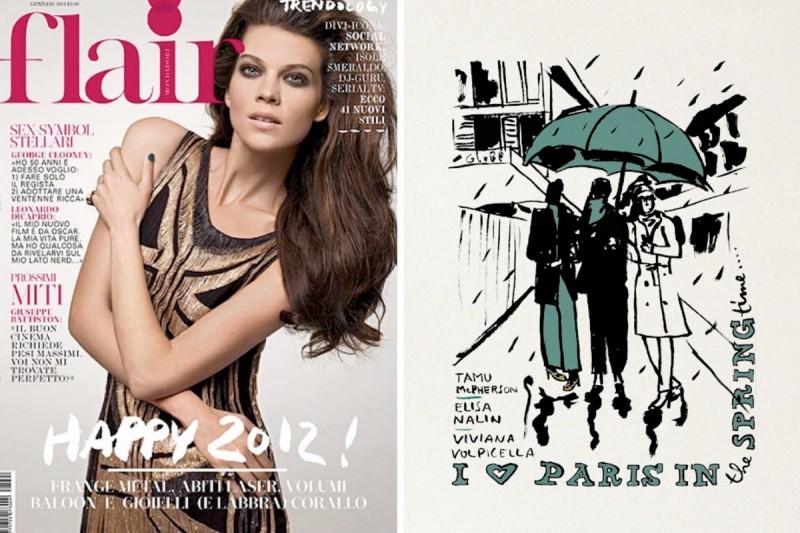Die italienische Modezeitschrift Flair und eine Illustration aus Daniele Costas Blog die die Moderedakteurinnen an den aktuellen Parises Modschauen zeigt