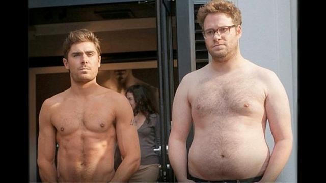 Sixpack gegen Dadbod: Zac Efron (l.) und Seth Rogen in «Bad Neighbors». Screenshot: Universal Pictures