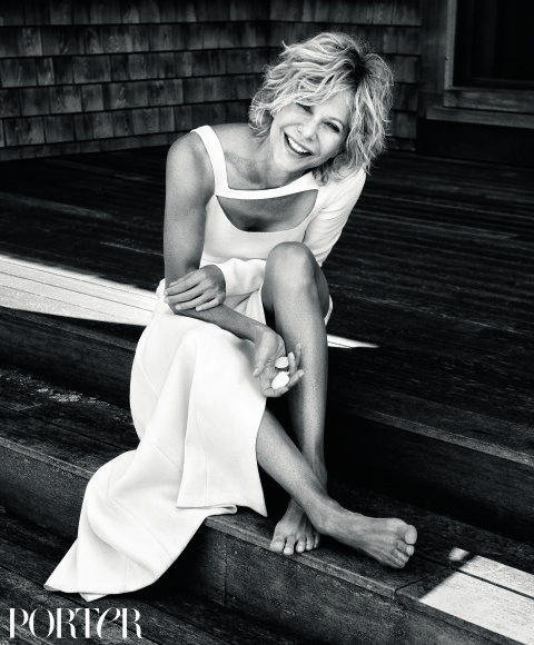 Meg Ryan wears dress by Escada, photographed by Pamela Hanson for PORTER...