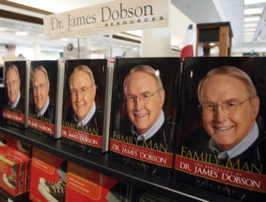 """Copies of """"Family Man"""", the biography of Dr. James Dobson, founder of Focus on the Family, are seen in the bookstore at the Focus headquarters in Colorado Springs, Colorado July 20, 2007. Focus on the Family, a Christian non-profit ministry, says they are the world's largest dedicated to supporting families. Picture taken July 20, 2007. REUTERS/Rick Wilking (UNITED STATES) - RTR1S4CX"""