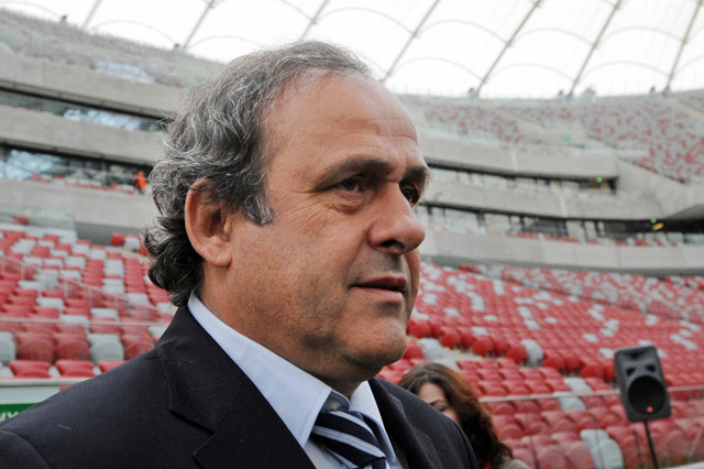 Michel Platini im National Stadium in Warschau, April 2012. (Foto: Keystone)