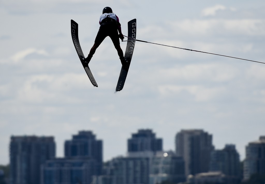 Carolina Chapoy of  Mexico competes in jump at the women's overall gold medal final during the Pan American Games in Toronto on Wednesday, July 22, 2015. Chapoy won bronze.  AFP PHOTO / Pool /  Nathan Denette