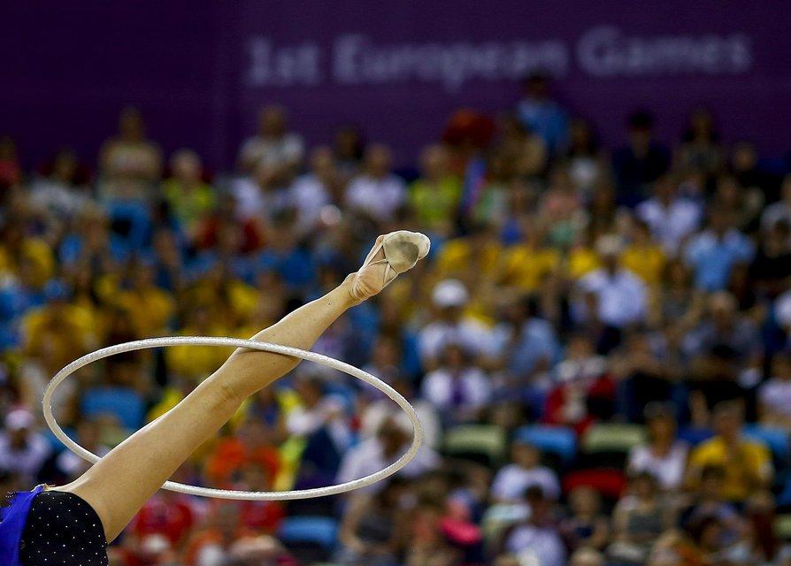 Neta Rivkin of Israel performs during the rhythmic gymnastics individual hoop final at the 1st European Games in Baku, Azerbaijan, June 21 , 2015.      REUTERS/Kai Pfaffenbach TPX IMAGES OF THE DAY