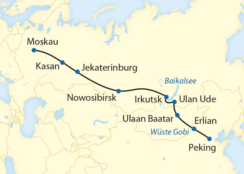 Zarengold Peking - Moskau-route-bahn