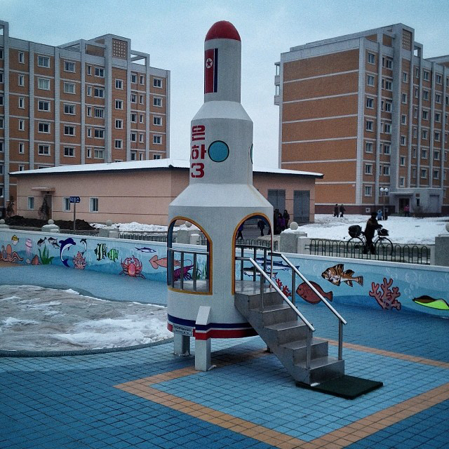 A pre-school playground set, shaped like the North Korean Unha rocket near Pyongyang. (AP Photo/David Guttenfelder)