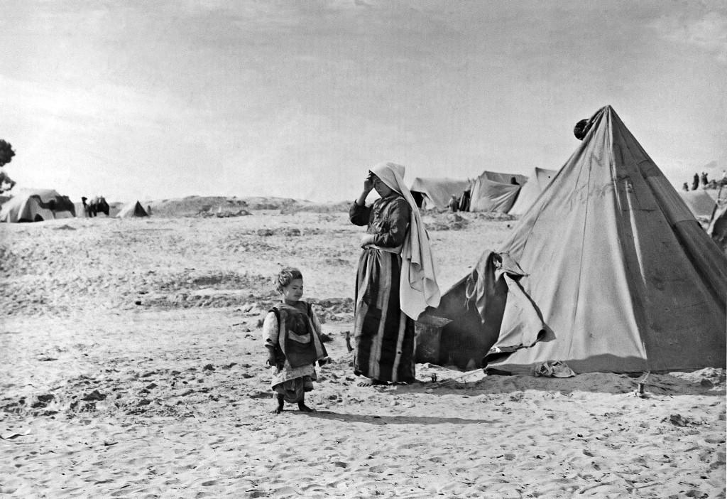 UNRWA Archive - Ausstellung Photobastei - BILDSEITE Palästinensisches Flüchtlingslager. © 1948 UN-Archiv, Fotograf unbekannt