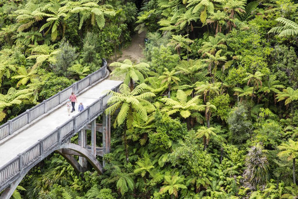 The Bridge to Nowhere. Kanu Trekking auf dem Whanganui River, North Island, Neuseeland, Foto: Bernard van Dierendonck