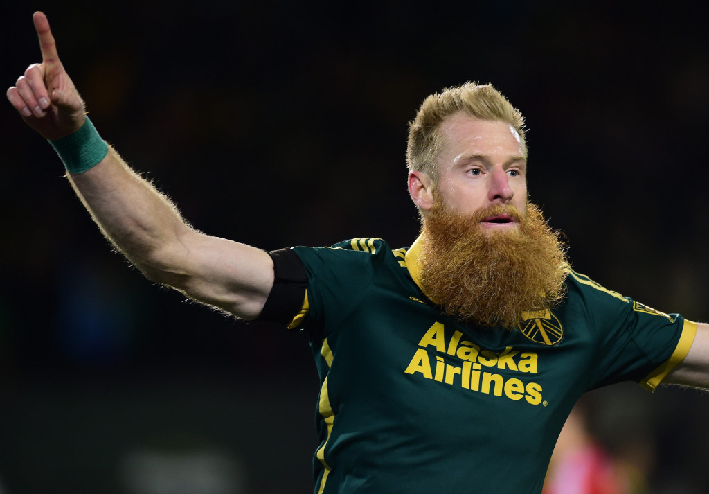 Nov 22, 2015; Portland, OR, USA; Portland Timbers defender Nat Borchers (7) celebrates after scoring against FC Dallas in the second half of leg one of the Western Conference championship at Providence Park. The Timbers won 3-1. Mandatory Credit: Godofredo Vasquez-USA TODAY Sports