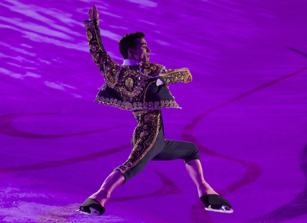 Javier Fernandez, of Spain, performs during exhibition gala after the Cup of Russia ISU Grand Prix figure skating event in Moscow, Russia, Sunday, Nov. 22, 2015. (AP Photo/Ivan Sekretarev)