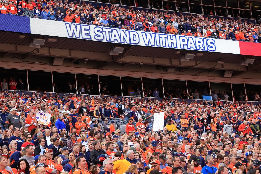 DENVER, CO - NOVEMBER 15: A moment of silence is observed in honor of the victims of the recent terrorist attacks in Paris prior to the game between the Kansas City Chiefs and the Denver Broncos at Sports Authority Field at Mile High on November 15, 2015 in Denver, Colorado. The Chiefs defeated the Broncos 29-13. (Photo by Doug Pensinger/Getty Images)