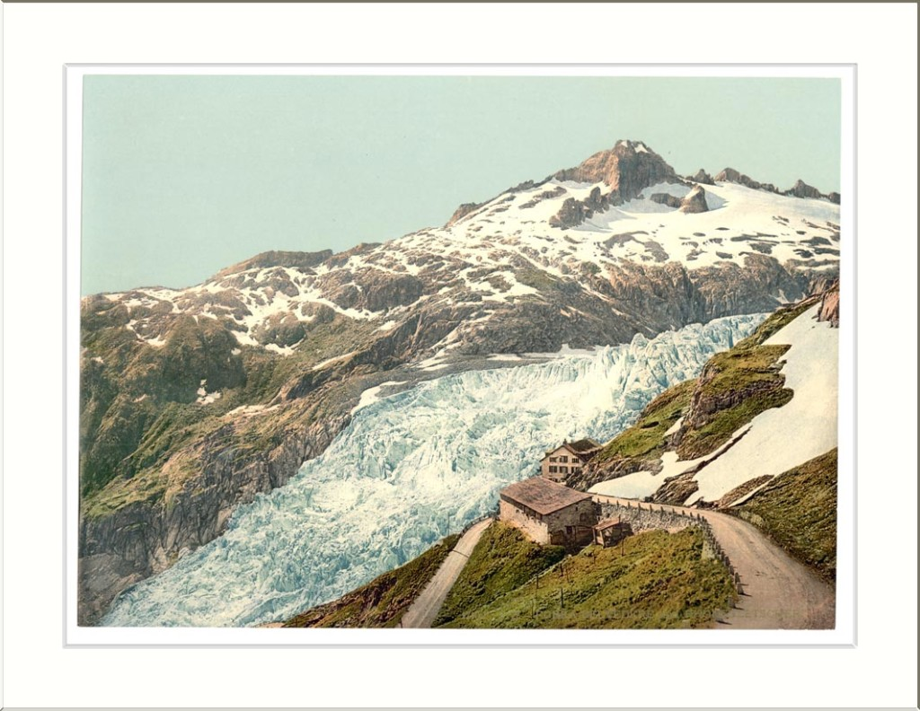 between ca. 1890 and ca. 1900. Print no. 17102. Views of Switzerland 1 photomechanical print : photochrom color. Library of Congress Prints and Photographs Division Washington D.C. 20540 USA Furka Pass and Rhöne Glacier Bernese Oberland Switzerland between ca. 1890 and ca. 1900. Print no. 17102. Views of Switzerland 1 photomechanical print : photochrom color. Library of Congress Prints and Photographs Division Washington D.C. 20540 USA