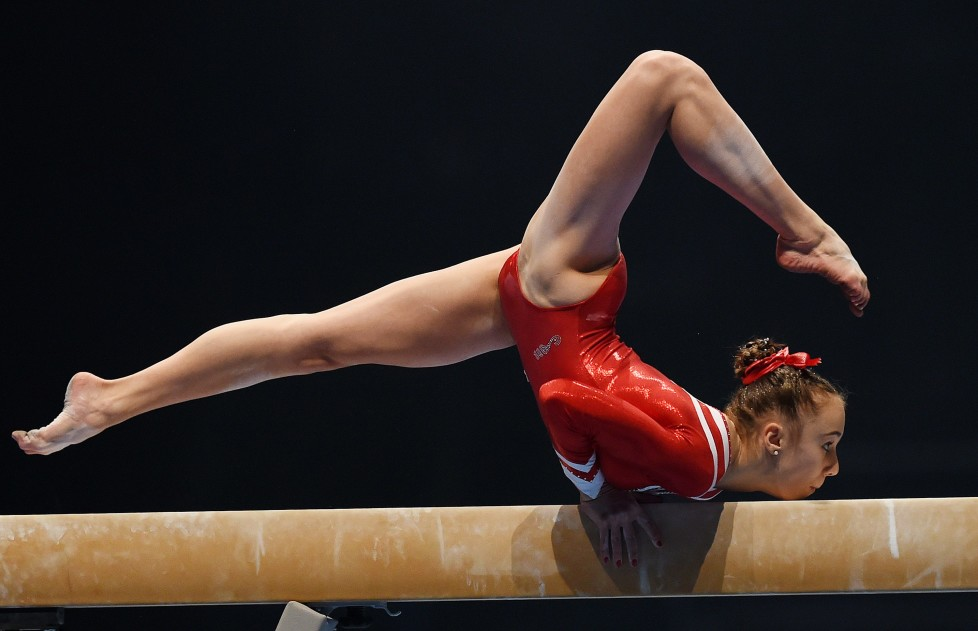 KARLSRUHE, GERMANY - DECEMBER 05: Tabea Alt of MTV Stuttgart competes on the Beam during the Women's DTL Finals 2015 at Messehalle 2 on December 5, 2015 in Karlsruhe, Germany. (Photo by Matthias Hangst/Bongarts/Getty Images)