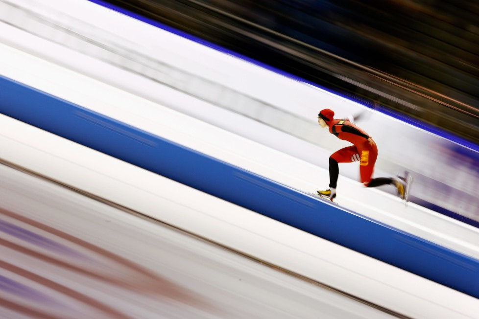 HEERENVEEN, NETHERLANDS - DECEMBER 12: Qishi Li of China competes in the 1000m Ladies race during day two of the ISU World Cup Speed Skating held at Thialf Ice Arena on December 12, 2015 in Heerenveen, Netherlands. (Photo by Dean Mouhtaropoulos/Getty Images) *** BESTPIX ***