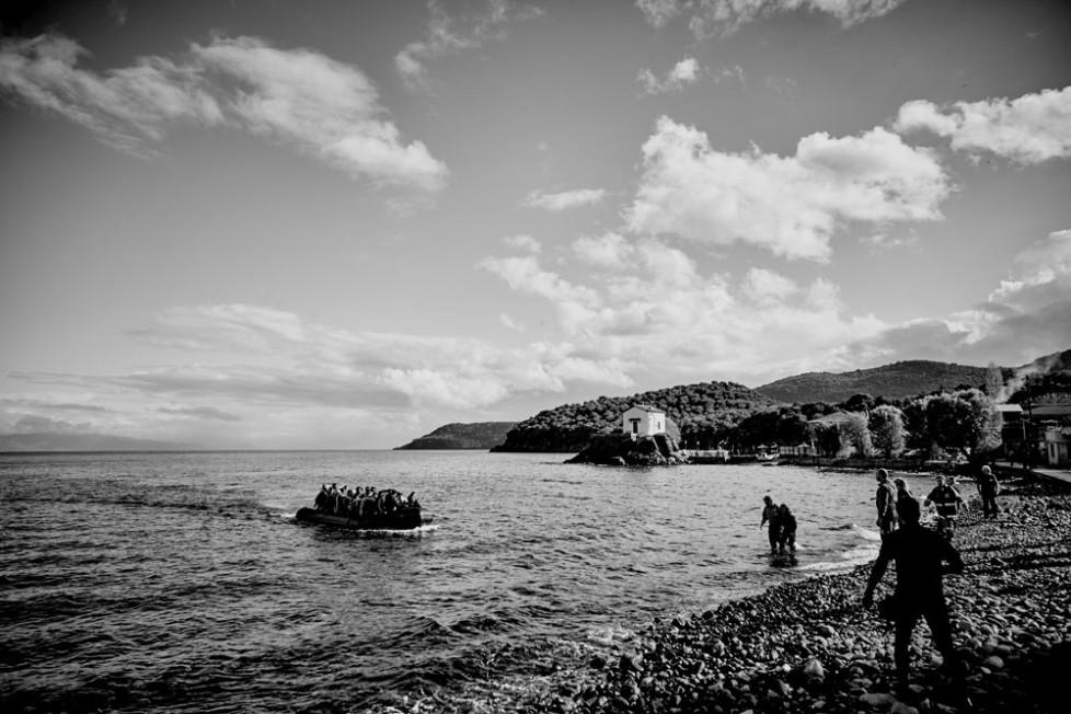 Gerade ist ein Boot von der Türkischen Küste komment an der Nordküste von Lesbos mit Flüchtlingen gelandet. Bei Skala Sikamineas.