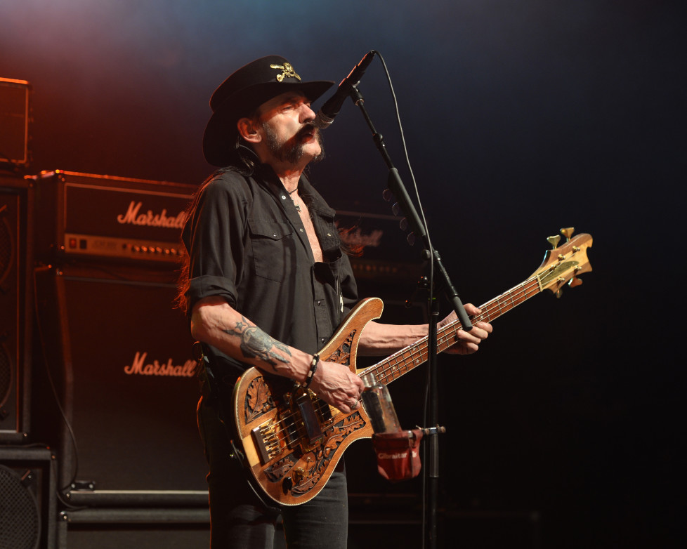 POMPANO BEACH, FL - SEPTEMBER 26: Lemmy Kilmister of Motorhead performs at The Pompano Beach Amphitheater on September 26, 2015 in Pompano Beach Florida. (Photo by Larry Marano/Getty Images)