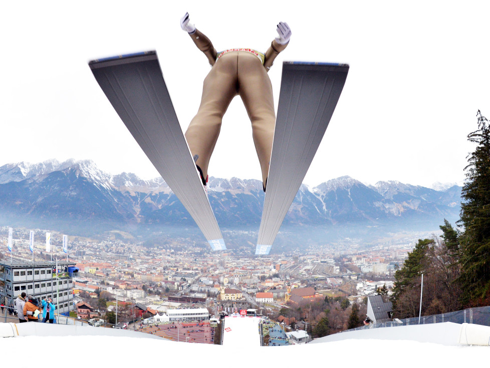 Heung-chul Choi of Republic of Korea competes during a training session of the Four Hills competition (Vierschanzentournee) of the FIS Ski Jumping World Cup in Innsbruck on January 2, 2016. The third competition of the Four-Hills Ski jumping event takes place in Innsbruck before the tournament continues in Bischofshofen (Austria). / AFP / APA / BARBARA GINDL