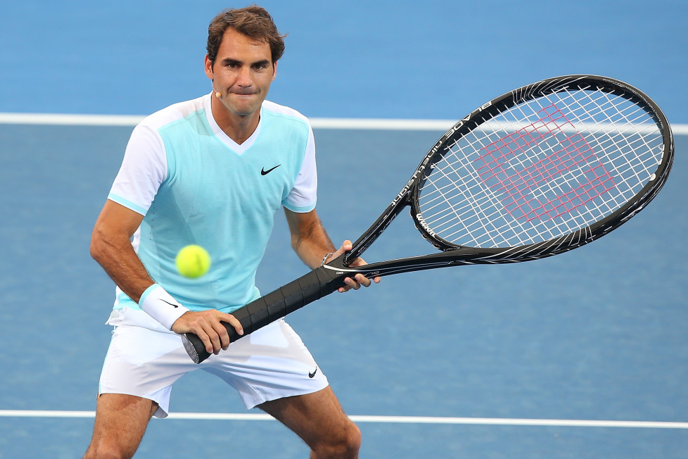 BRISBANE, AUSTRALIA - JANUARY 03: Roger Federer of Switzerland takes part in the Pat Rafter Arena Spectacular during day one of the 2016 Brisbane International at Pat Rafter Arena on January 3, 2016 in Brisbane, Australia. (Photo by Chris Hyde/Getty Images)