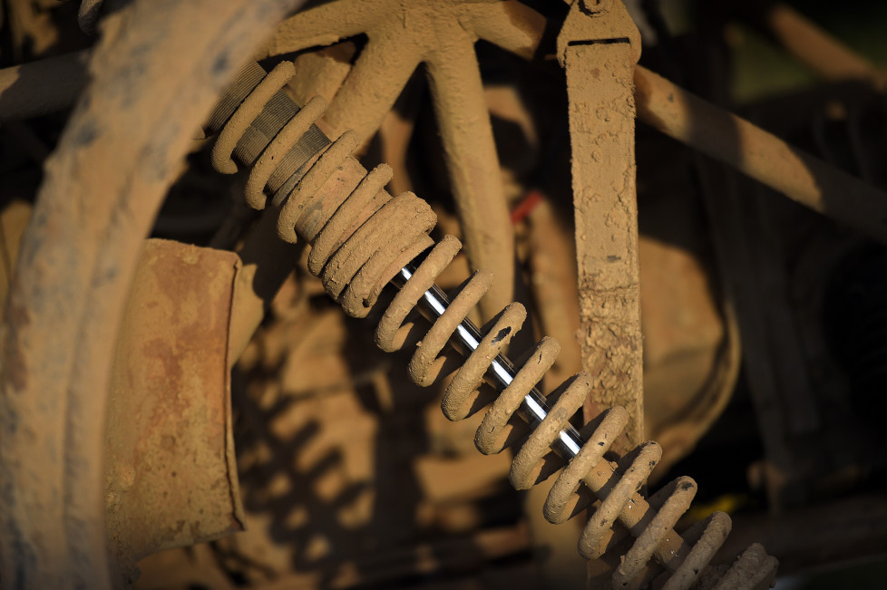 View of mechanical parts of a vehicle at the bivouac during the rest day of the Rally Dakar 2016 in Salta, Argentina, on January 10, 2016. AFP PHOTO / FRANCK FIFE / AFP / FRANCK FIFE