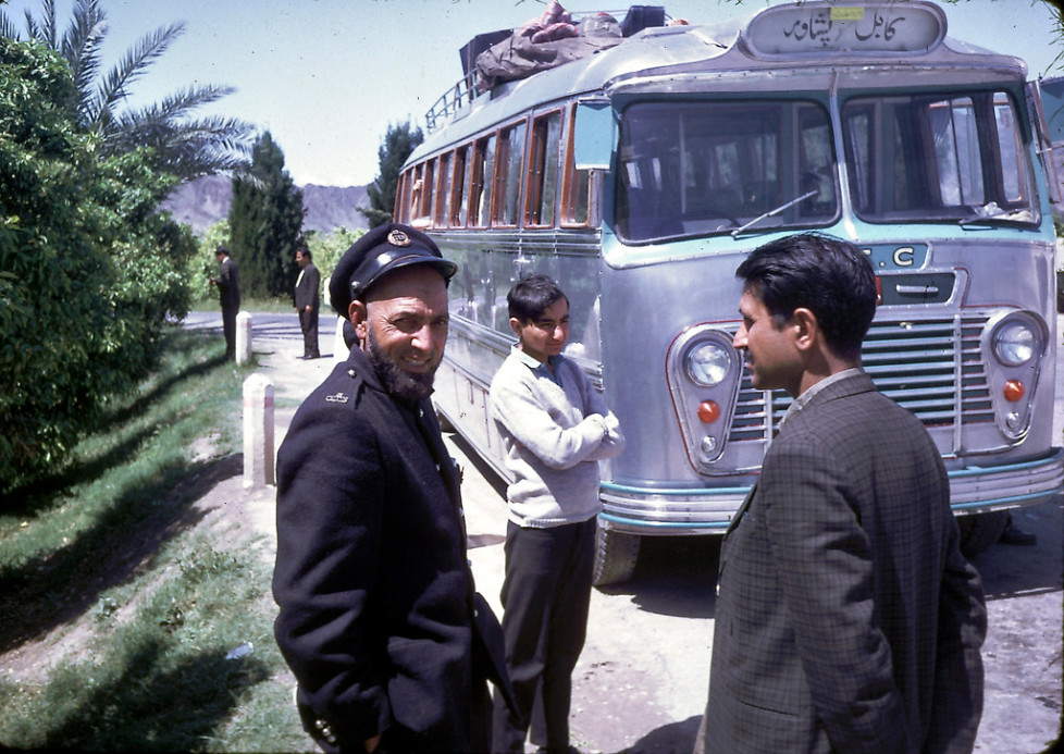 """""In the spring of 1968,Êmy familyÊtook a public, long-distance, Afghan bus through the Khyber Pass to visit Pakistan (Peshawar and Lahore).Ê The road was rather bumpy in that direction, too.Ê As I recall, it was somewhat harrowing at certain points with a steep drop off on one side and a mountain straight up on the other!Ê I remember that, before we left Kabul,Êmy father paid for a young man to go around the bus with a smoking censor to bless the bus or ward off the evil eye.Ê I guess it worked - we had a safe trip."" - Peg Podlich."""